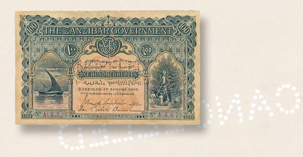 1916 Zanzibar 100-rupee note Shirts Spink auction