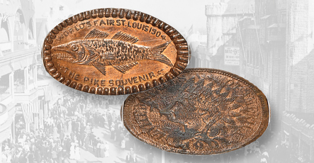 Rare Pike souvenir elongated penny from St. Louis World's Fair at auction
