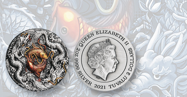 Perth Mint shows double dragon, koi in ultra high relief