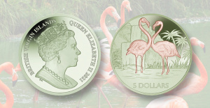 Pobjoy Mint titanium coin Reveals colorful flamingo