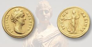 Solidus auction includes Faustina, the Elder's gold aureus